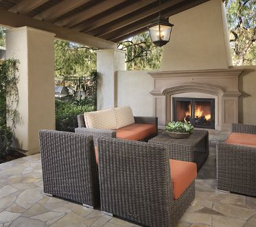 View of outdoor patio at Quail Hill Apartment Homes in Irvine, CA.