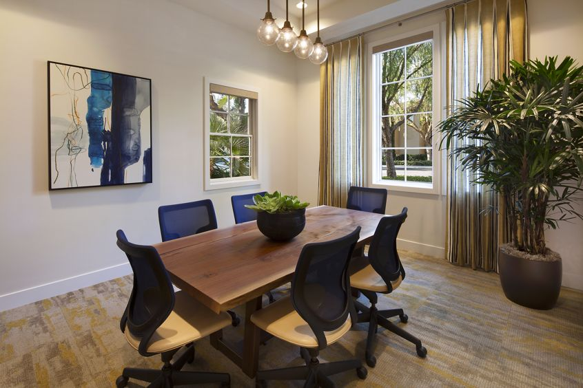 Interior view of business center conference room at Quail Hill Apartment Homes in Irvine, CA.
