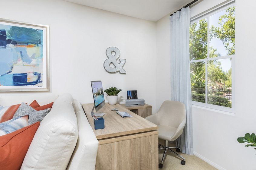Interior view of office space in living room at Quail Hill Apartment Homes in Irvine, CA.