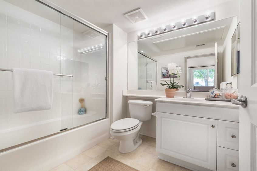 Interior view of bathroom at Quail Hill Apartment Homes in Irvine, CA.