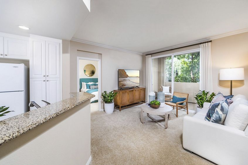 Interior view of living room at Quail Hill Apartment Homes in Irvine, CA.