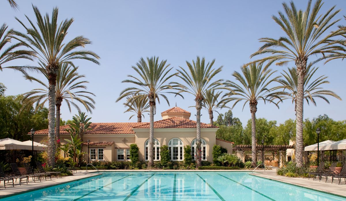 Exterior view of pool at Quail Ridge Apartment Homes at Quail Hill in Irvine, CA.
