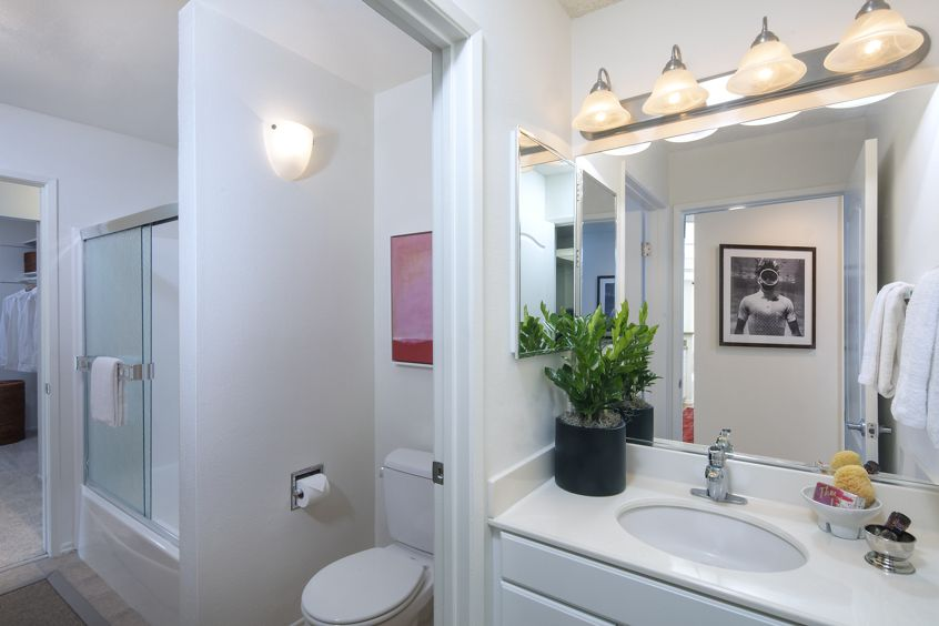 Interior view of bathroom at Rancho San Joaquin Apartment Homes in Irvine, CA.