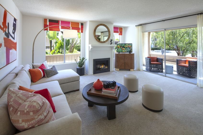 Interior view of living room at Rancho San Joaquin Apartment Homes in Irvine, CA.