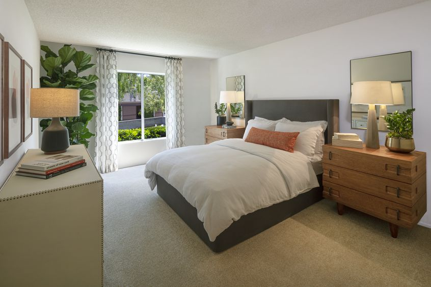 Interior view of bedroom at Rancho San Joaquin Apartment Homes in Irvine, CA.
