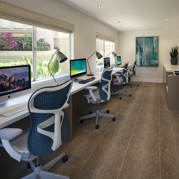 Interior view of business center at San Leon Villa Apartment Homes in Irvine, CA.