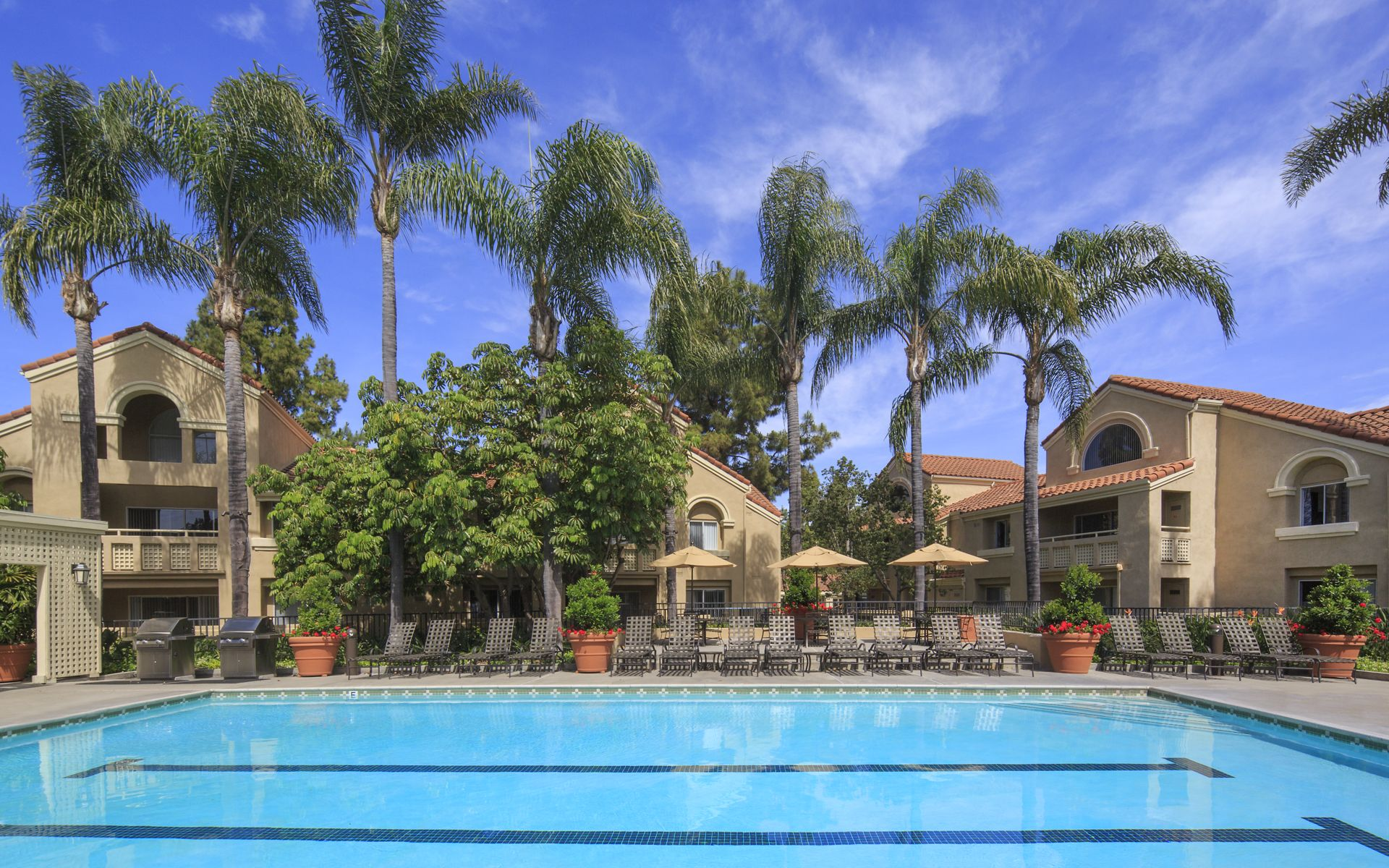 Pool view at San Leon Villa Apartment Homes in Irvine, CA.