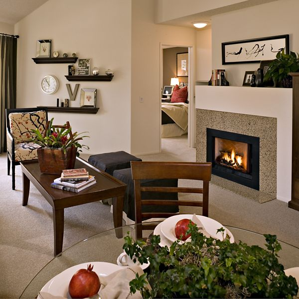 Interior view of living room and dining room at San Marco Villa Apartment Homes in Irvine, CA.