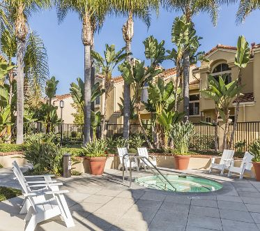 Exterior view of the spa at San Marco Villa Apartment Homes in Irvine, CA.