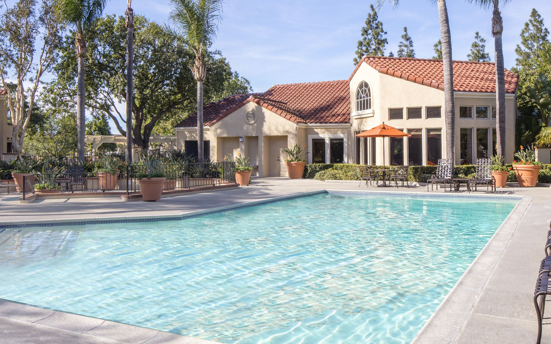 Pool view at San Marino Villa Apartment Communities in Irvine, CA.