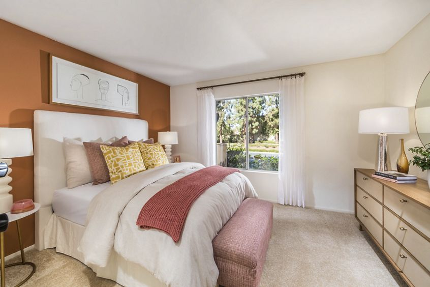Interior view of bedroom at San Marino Villa Apartment Homes in Irvine, CA.