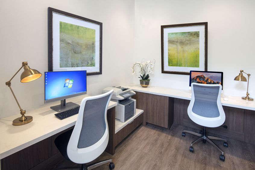 Interior view of business center at San Mateo Apartment Homes in Irvine, CA.