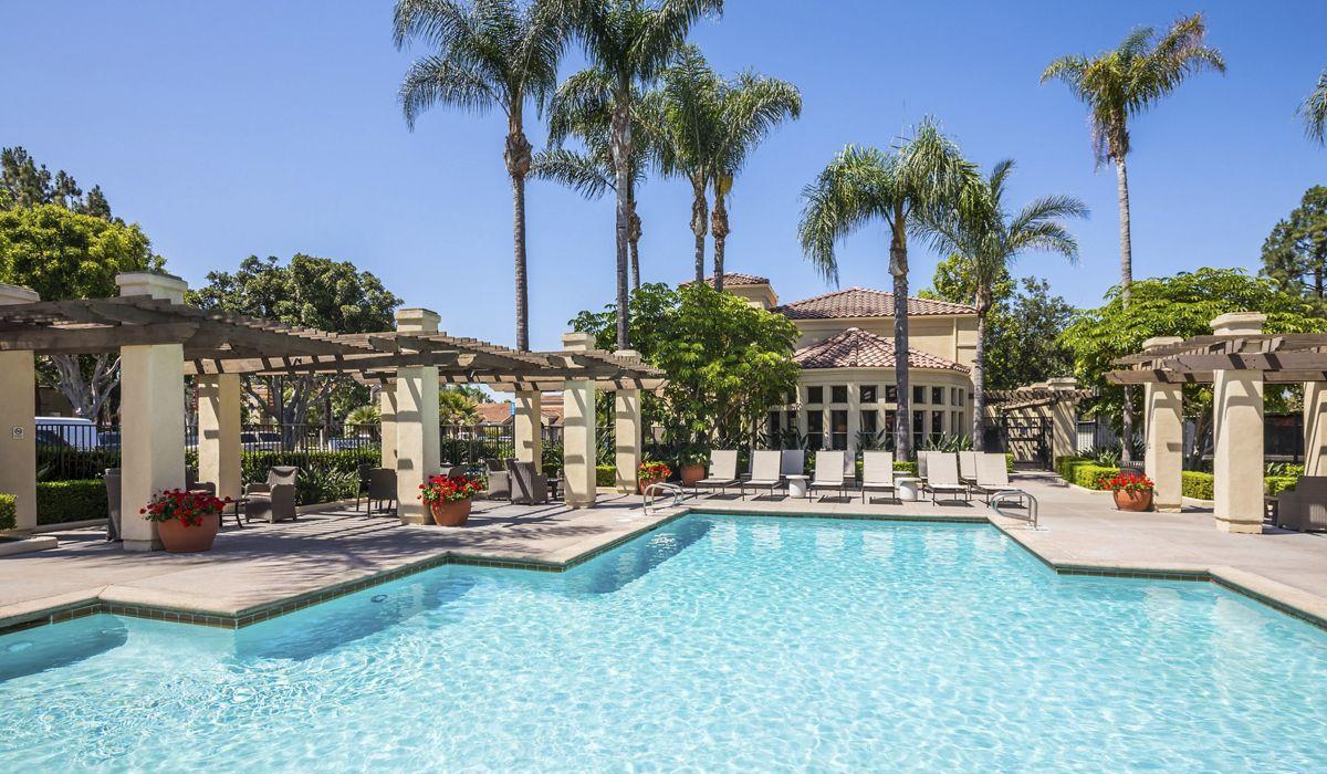 Pool view at San Mateo Apartment Homes in Irvine, CA.