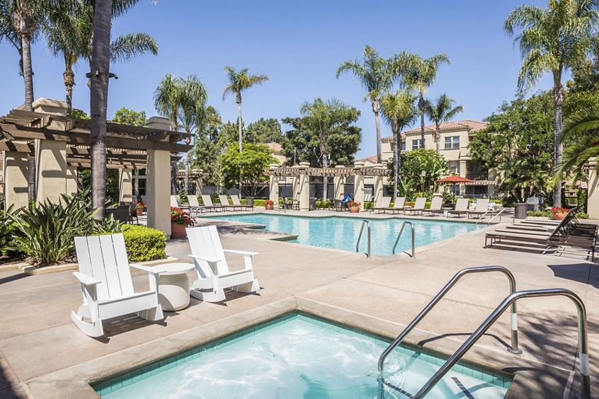 Pool and spa view at San Mateo Apartment Homes in Irvine, CA.