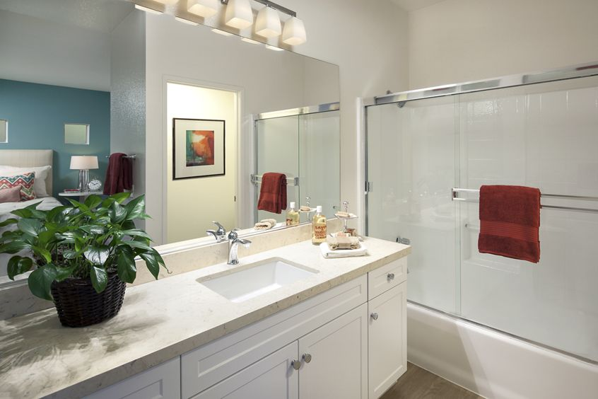 Bathroom view of San Paulo Apartment Homes in Irvine, CA.