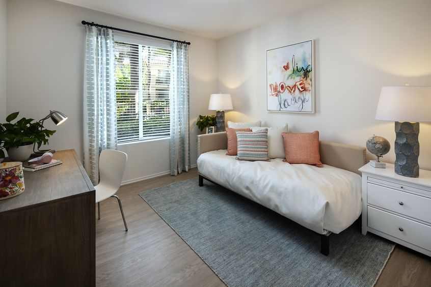 Interior view of bedroom of San Paulo Apartment Homes in Irvine, CA.