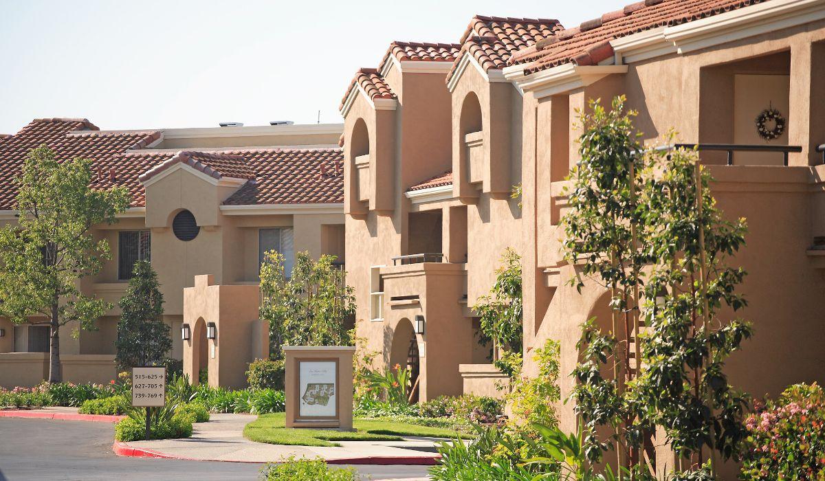 Exterior view of San Remo Villa Apartment Homes in Irvine, CA.