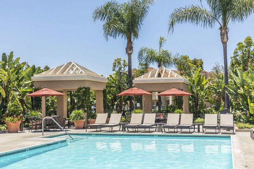 Pool view at San Remo Villa Apartment Homes in Irvine, CA.