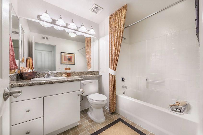 Interior view of bathroom at Santa Maria Apartment Homes in Irvine, CA.