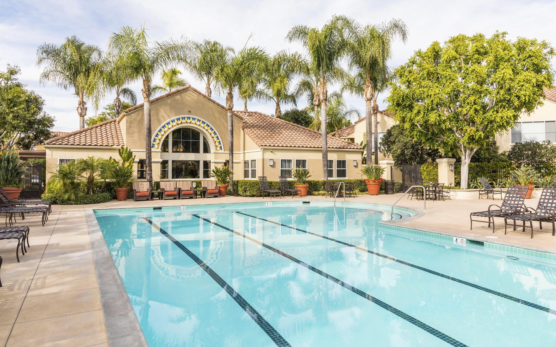Pool view at Santa Maria Apartment Homes in Irvine, CA.