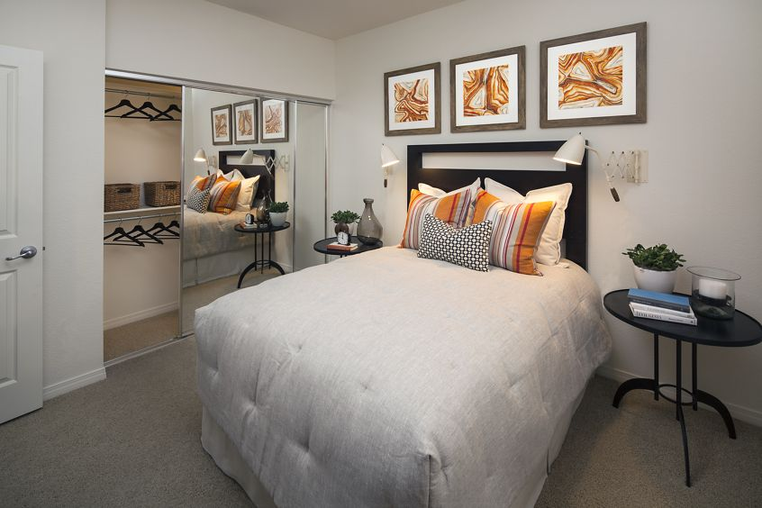 Interior view of bedroom at Shadow Oaks Apartment Homes in Irvine, CA.