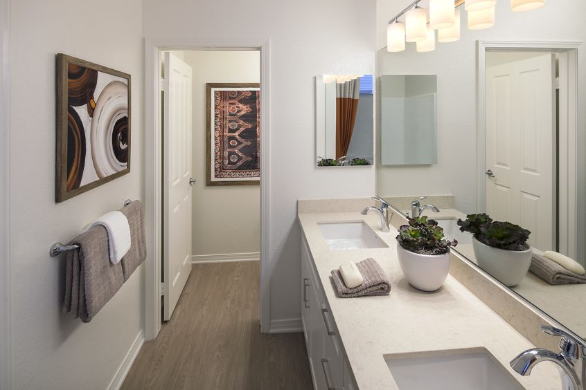 Interior view of bathroom at Shadow Oaks Apartment Homes in Irvine, CA.