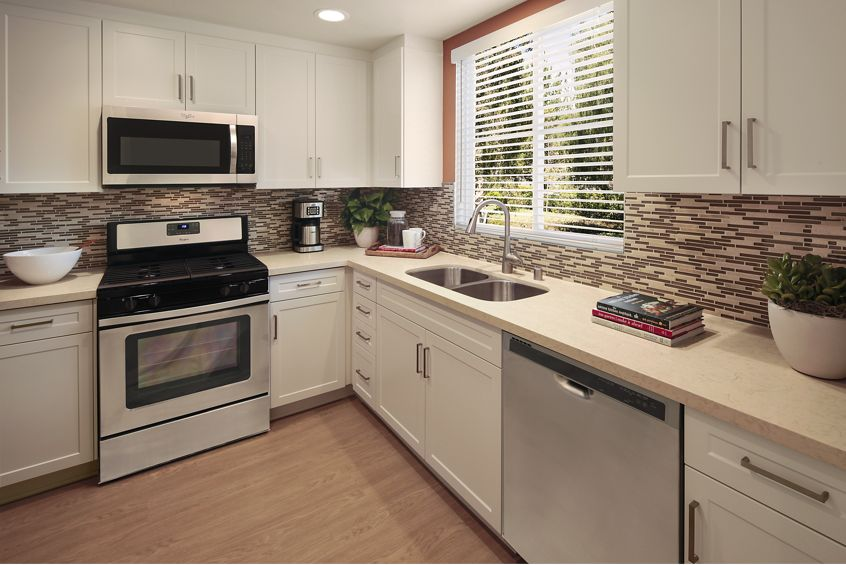 Interior view of kitchen at Shadow Oaks Apartment Homes in Irvine, CA.