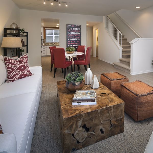 Interior view of living room and dining room at Shadow Oaks Apartment Homes in Irvine, CA.