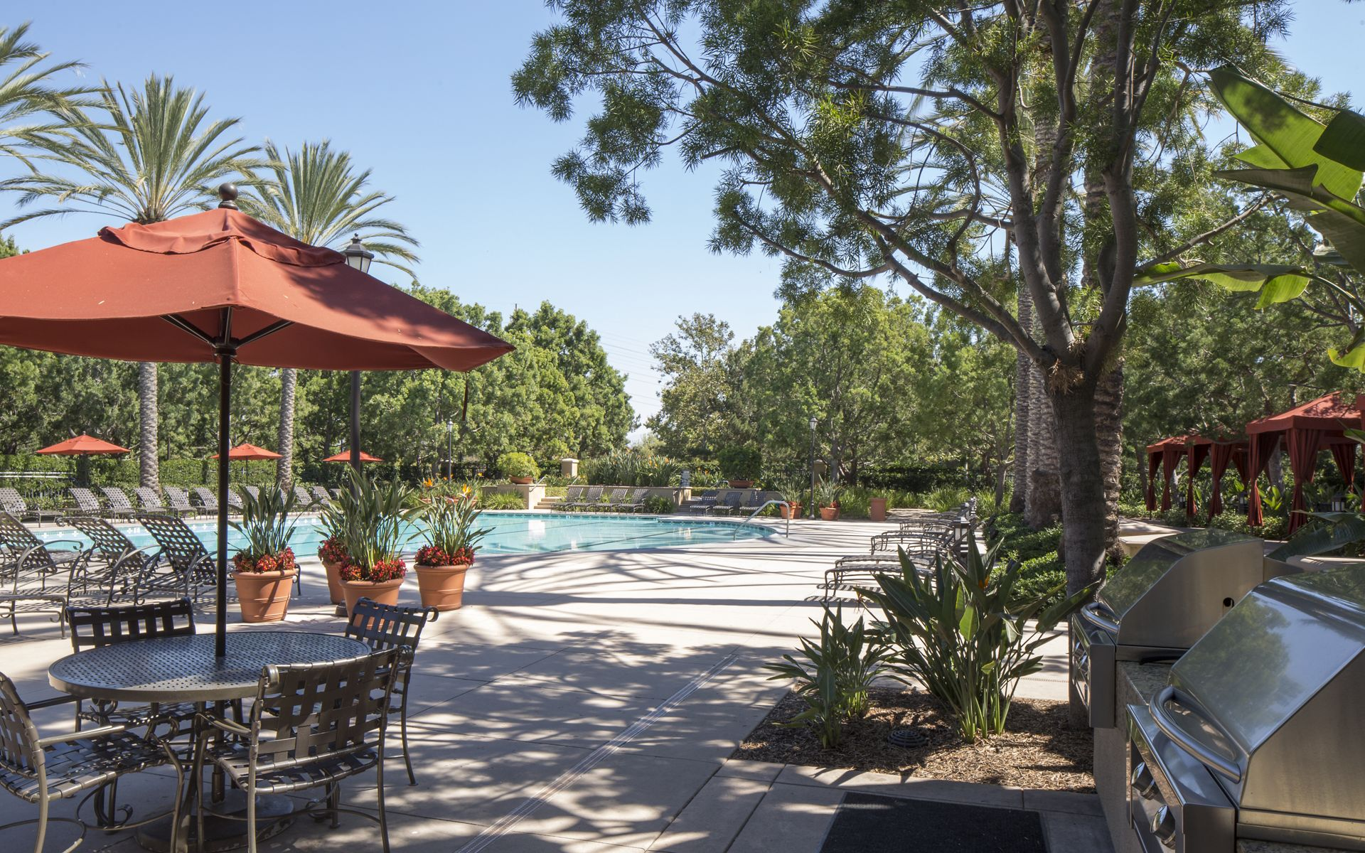 Pool view at Shadow Oaks Apartment Homes in Irvine, CA.