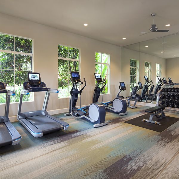 Interior view of Fitness Center at Shadow Oaks Apartment Homes in Irvine, CA.