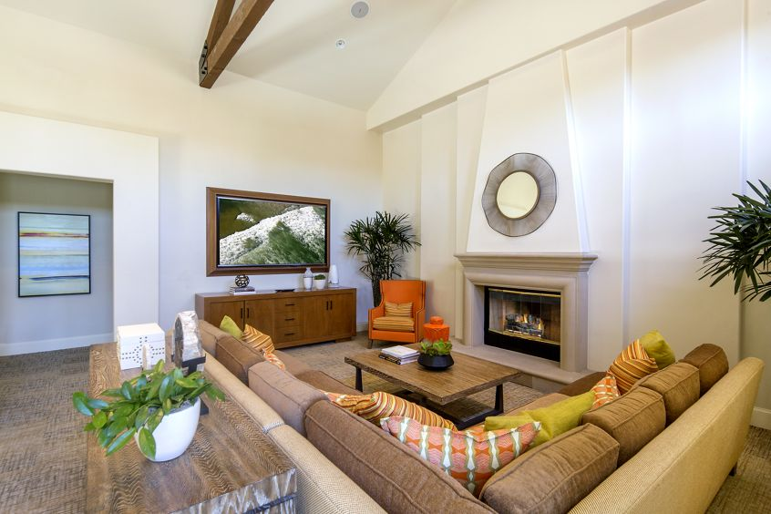 Interior view of clubhouse at Solana Apartment Homes in Irvine, CA.