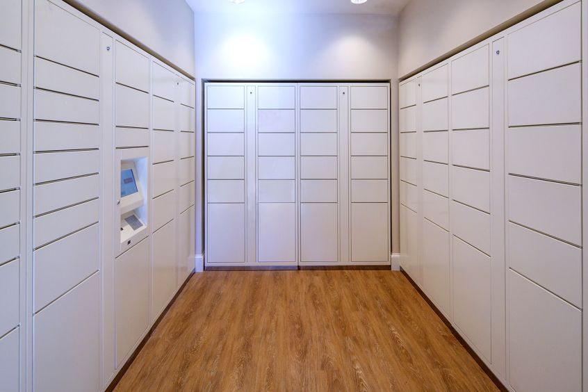 Interior view of parcel locker at Solana Apartment Homes in Irvine, CA.