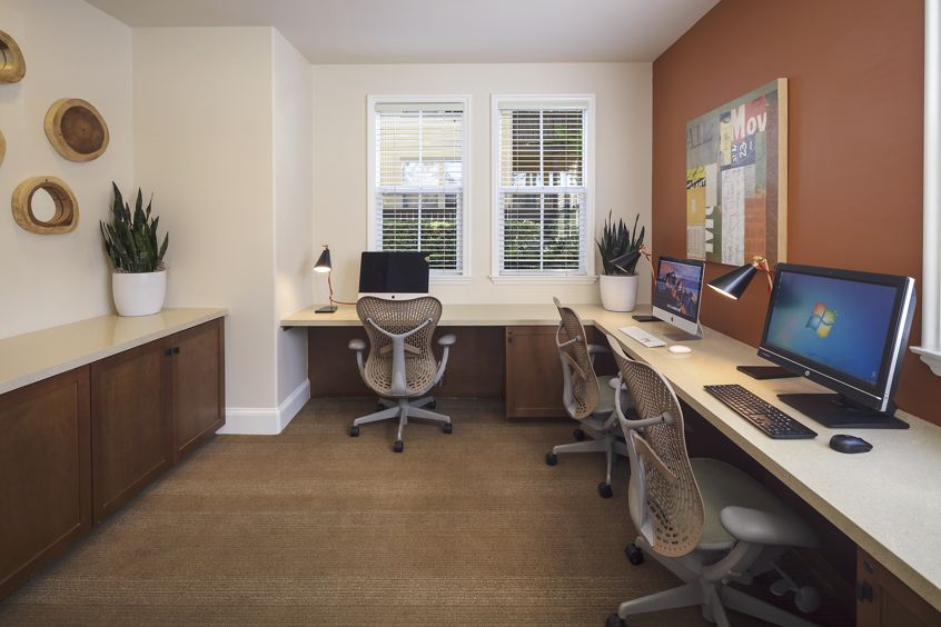 Interior view of business center at Solana Apartment Homes in Irvine, CA.