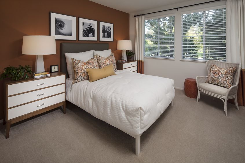 Interior view of bedroom at Solana Apartment Homes in Irvine, CA.