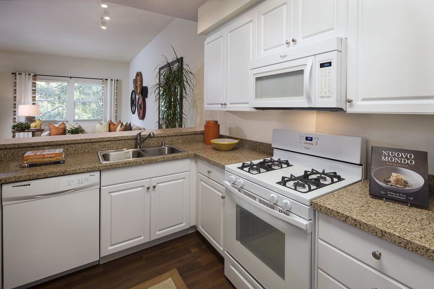 Interior view of kitchen at Solana Apartment Homes in Irvine, CA.