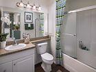 Interior view of bathroom at Solana Apartment Homes in Irvine, CA.