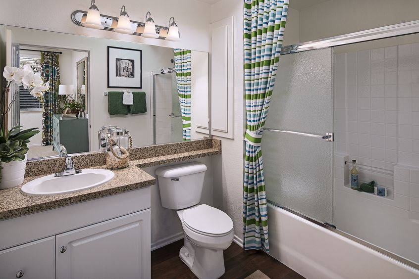 Interior view of bathroom at Solana Apartment Homes in Irvine, CA.