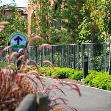 Exterior view of walking trail at Somerset Apartment Homes in Irvine, CA.