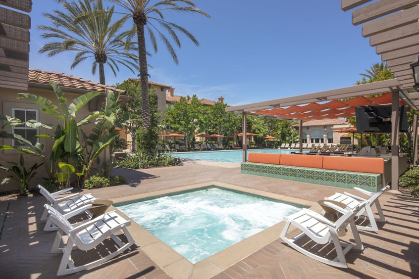 Pool and spa view at Somerset Apartment Homes in Irvine, CA.
