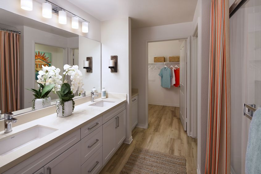 Interior view of bathroom at Somerset Apartment Homes in Irvine, CA.