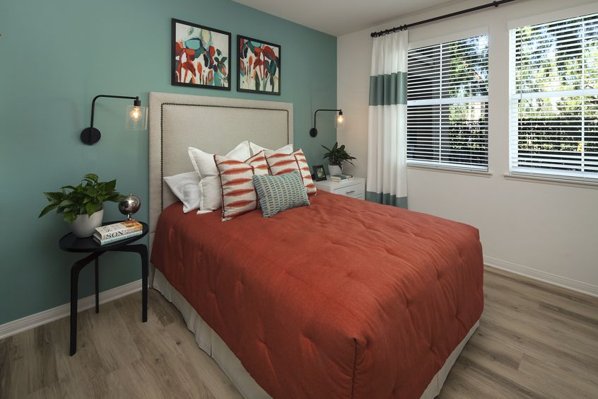 Interior view of bedroom at Somerset Apartment Homes in Irvine, CA.