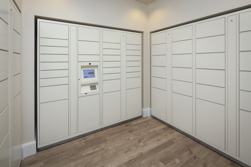 Interior view of parcel lockers at Somerset Apartment Homes in Irvine, CA.