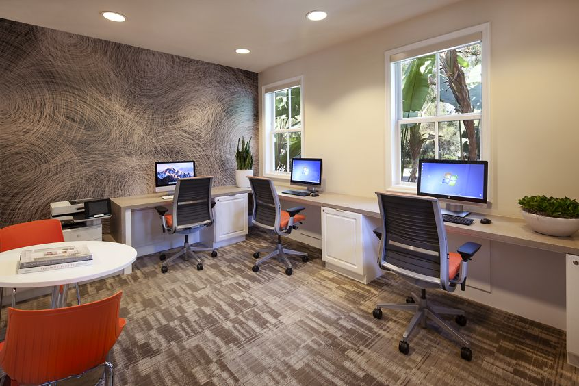 Interior view of business center at Somerset Apartment Homes in Irvine, CA.