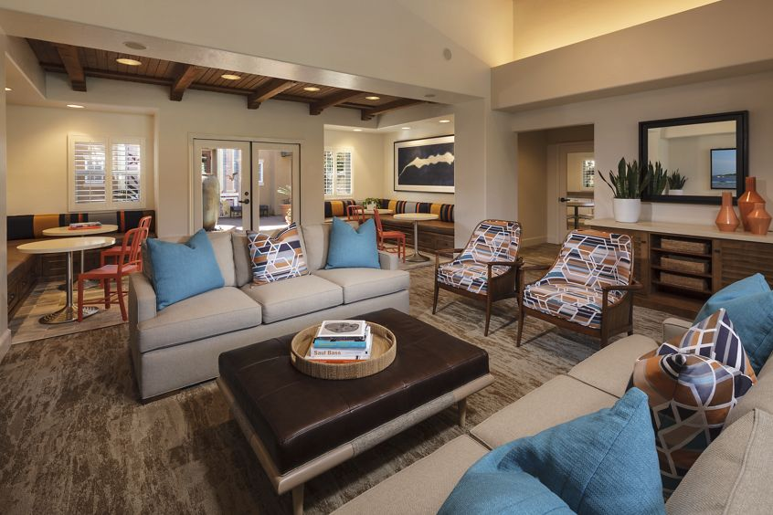 Interior view of clubhouse in Sonoma Apartment Homes at Oak Creek in Irvine, CA.