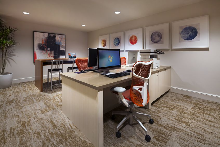 Interior view of business center in Sonoma Apartment Homes at Oak Creek in Irvine, CA.