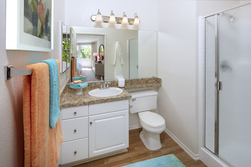 Interior view of bathroom at Sonoma Apartment Homes at Oak Creek in Irvine, CA.
