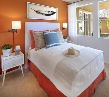 Interior view of bedroom at Sonoma Apartment Homes at Oak Creek in Irvine, CA.