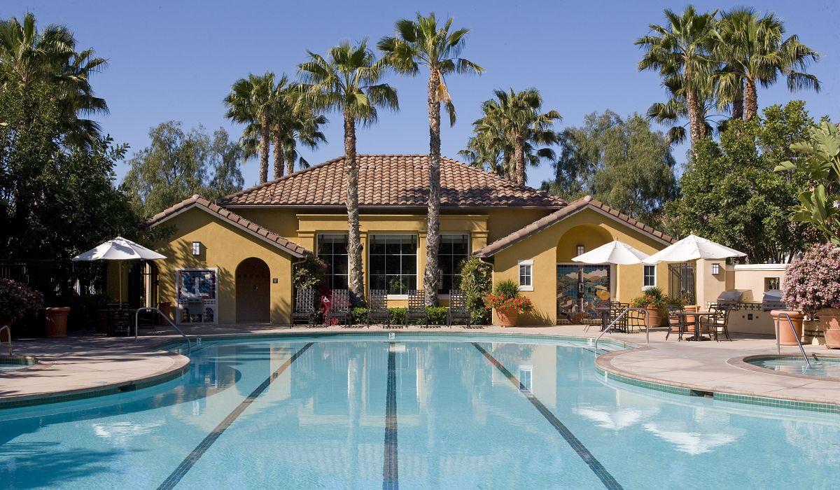 Exterior view of pool at Sonoma Apartment Homes at Oak Creek in Irvine, CA.