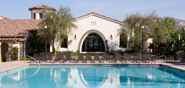 Exterior view of pool at Mirasol Apartment Homes in Stonegate, Irvine, CA.