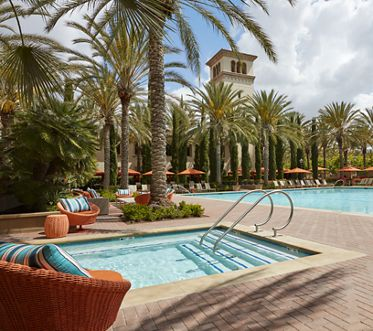 Pool and spa view at The Park at Irvine Spectrum Apartment Homes in Irvine, CA.